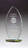Flame Shaped Clear Glass Flame on Prism-Effect Oval Base Employee Awards