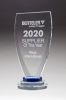 Chalice Series Glass Award Blue and Clear Glass Pedestal Base Employee Awards