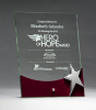 Glass Award with Silver Star and Rosewood Finish Base Sales Awards