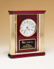 Elegant Rosewood Piano-Finish Clock with Gold Aluminum Posts Secretary Gift Awards