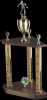 3 Column Wood base trophy Two Tier Trophies