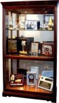R3102 - Glass & Windsor Cherry Finish Lighted Display Cabnet 20. Showcases