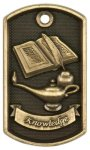 3-D Lamp Of Knowledge Dog Tag Medal 3D Dogtag Medallion Awards