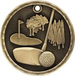 3-D Medal -Golf 3D Medal Medallion Awards