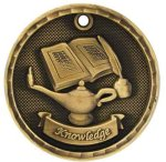3-D Medal -Lamp of Knowledge 3D Medal Medallion Awards