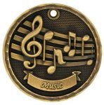 3-D Medal -Music 3D Medal Medallion Awards