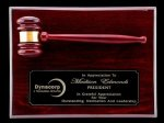 R1071 - Rosewood High Polish Finish Gavel Plaque 6. Plaques
