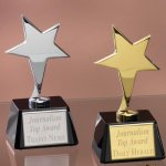 Small Stars with Glass Bases Achievement Award Trophies