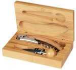 2 Piece Wine Tool Set -Bamboo Bamboo Gift Items