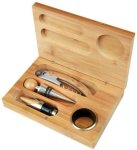 4 Piece Wine Tool Set -Bamboo Bamboo Gift Items