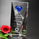 Gemstone Award Blue Optical Crystal Awards