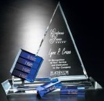Goal-Setter Triangle Blue Optical Crystal Awards