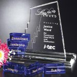 San Marcos Goal-Setter Blue Optical Crystal Awards