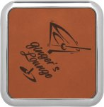 Leatherette Square Coaster with Silver Edge -Rawhide Boss Gift Awards