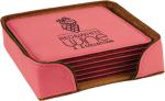 Leatherette Square Coaster Set -Pink Boss Gift Awards