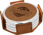 Leatherette Round Coaster Set with Silver Edge -Dark Brown Boss Gift Awards
