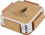 Leatherette Square Coaster Set with Silver Edge -Light Brown Boss Gift Awards
