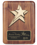 Rounded Edge Solid Walnut with Star Casting Cast Relief Plaques