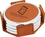 Leatherette Round Coaster Set with Silver Edge -Rawhide Circle Awards