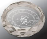 Faceted Round Crystal Paper Weight Circle Awards