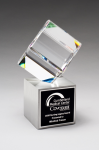Clipped Crystal Cube on Brushed Silver Metal Base Clear Glass Awards