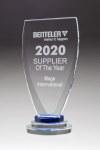 Chalice Series Glass Award Blue and Clear Glass Pedestal Base Clear Glass Awards