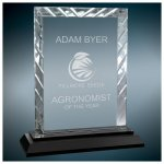 Rectangle Clear Premier Accent Glass Award on a Black Base Clear Glass Awards