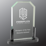 Clipped Corner Premier Glass with Black Marble Base Clear Glass Awards