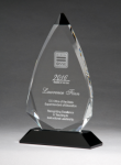 Arrow Series Crystal Award with Black Accent Clear Optical Crystal Awards