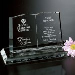 Open Book Clear Optical Crystal Awards