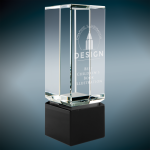 Crystal Block with Black Base Clear Optical Crystal Awards