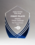 Shield Series Clear Acrylic with Polished Lines and Blue Metallic Accent Colored Acrylic Awards