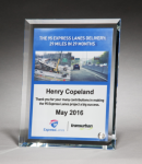 Personalize Your Glass Award with Four-Color Reproduction. Colored Awards