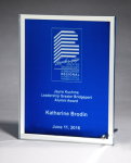 Glass Plaque with Blue Center and Mirror Border Colored Awards