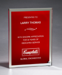 Glass Plaque with Red Center and Mirror Border Colored Awards