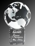 R0210 - World Globe & Pedestal Crystal Awards
