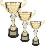 Gold Metal Loving Cup with Silver Accent Cup Trophies