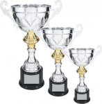 Silver Metal Loving Cup with Gold Accent Cup Trophies