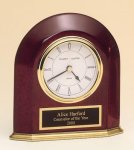 Rosewood Piano Finish Arched Desk Clock Desk Clocks