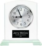 Square Arch Clear Glass Desk Clock with Split Step Base Desk Clocks