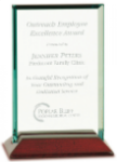 Jade Rectangle Glass with Rosewood Piano Finish Base  Diamond Awards