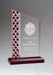 Zenith Series Clear Acrylic with Lattice Pattern and Red Metallic Accent Employee Awards