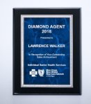 Black High Lustr Plaque with Blue Marble Plate Employee Awards