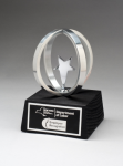 Chrome plated star in Aluminum Unisphere on Black Base Employee Awards