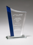 Zenith Series Clear Glass Award with Blue Glass Highlights Employee Awards