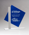 Diamond Series Blue Silk Screened Glass Award Employee Awards
