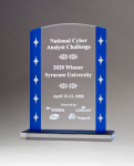 Clear Acrylic Award with Blue Edges and Silver Stars Employee Awards