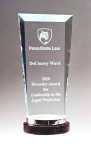 Premium Series Glass Award with Rosewood and Aluminum Base Employee Awards