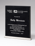 Black Laser Leather Desktop Plaque with Chrome Plated Base Employee Awards