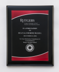 Black Piano Finish Plaque with Red Acrylic Plate Employee Awards